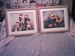 Two Wonderful Whimsical Rybaz Artworks, Set Of Two Art Paintings On Cardboard
