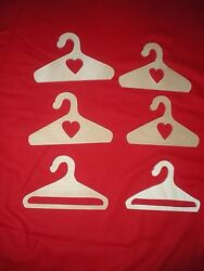 Set Of 6 Wooden Handcrafted 18 Doll Size Doll Clothes Hangers New