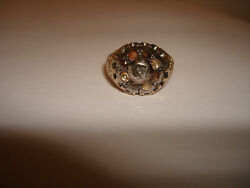 Victorian Collectible Beautiful Rose Cut Diamond 14k Gold Signet Ring Size 7.25