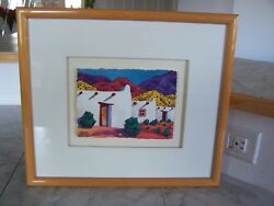 Vintage 1994 Todd Abbott Winters MESA DEL TRES ADOBES Framed Watercolor Painting