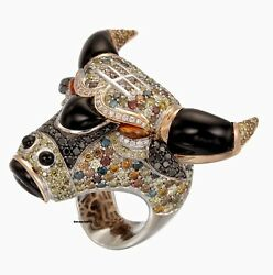 10k Yellow Gold Customized Bull Shaped Colorful Engagement Cz Ring Free Ship