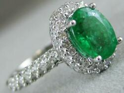 Estate 2.04ctw Diamond Emerald 14kt White Gold Oval Pave Cocktail Ring N1330.1