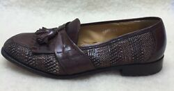 Vito Rufolo Mens 9.5 M Made In Italy Brown Leather Woven Kilt Tassel Loafers