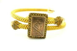 Antique Victorian Gold Filled Floral Etched Braided Spring Adjustable Bracelet