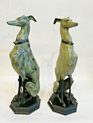 Life size PAIR english Metal 1970 Greyhound whippet couple dogs entrance hall