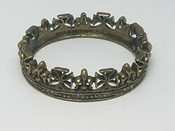 Rock And Republic Antiqued Brass Tone Crown Hinged Bangle Bracelet