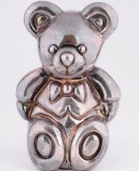 Tiffanyandco .925 Sterling Silver Teddy Bear Rattle Baby Infant Toy Electroform