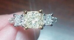 2ct Total3 Diamond Ring. 1.01ct Gia Certified Natural Yellow Center. 14kt Wg.