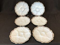 Antique Ca Charles Ahrenfeldt Depose Limoges French Oyster Plate 6 Wells Set 6