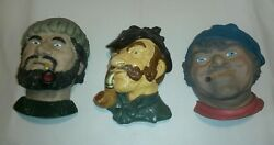 ☆ Vintage Lot Of 3 Chalkware Heads Fisherman / Detective /sailor - Cigar And Pipe