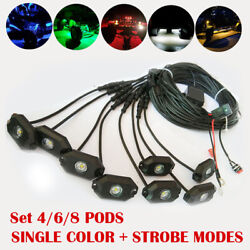 Set 4/6/8pcs Pods Off Road Led Rock Light And Wiring For Marine Suv Truck Boat Atv