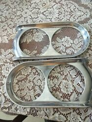 Pair Vintage Dual Headlight Rims Possible 50and039s 60and039s Olds Buick Pontiac Custom