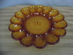 Vintage Indiana Glass Co. Amber Hobnail Glass Egg Plate Relish Tray 11.5