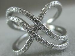 Estate Large Pave Diamond 14k Gold Swirls X Crossover Cocktail Ring 16mm R5197dw