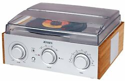 Record Player Turntable Stereo Receiver Radio Am Fm Speakers 33/45/78 Rpm Speed