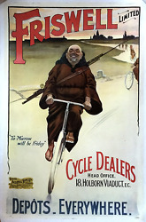 Friswell Limited - Original Vintage Bicycle Poster - Cycling - Fly Fishing