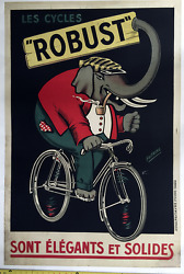 Les Cycles Robust - Original Vintage Bicycle Poster - Cycling - Elephant