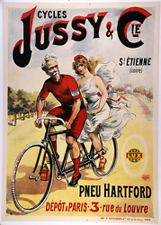 Cycles Jussy - Original Vintage Bicycle Poster - Cycling - Tandem