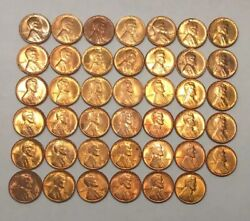 1940-s Lincoln Wheat Cents-lot Of 41 Coins In Bu+ Condition