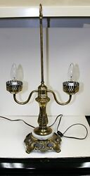 Vintage Accurate Cast Co Table Lamp Brass Marble Base Candle Stick Casting