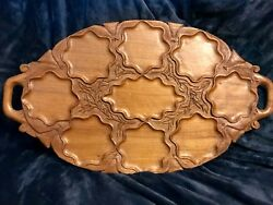 """Retro Vintage Hand Engraved And Carved Oval Teak Wood Wooden Serving Tray 23""""x13"""""""