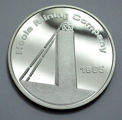 Very Rare 1985 Hecla Mining Co.ranchers Exploration 1 Oz.999 Silver Round Proof