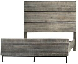 95 Alice King Bed One Of A Kind Hand Crafted Solid Oak Dark Grey Wash Finish