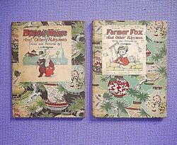 2 Vintage L J Bridgman Childrens Books Farmer Fox / Bunny's House And Other Rhymes