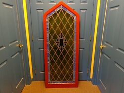 Stunning Vintage Arched Stained Glass Window With Frame Molding, 5' 9-1/2 Tall