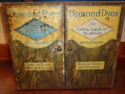 Antique Tin Diamond Dyes General Store Advertising Cabinet C1800's, Display Case