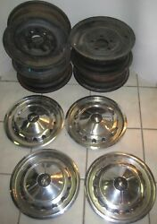 1957 Chevrolet Belair Wheels And Hub Caps, Vintage Oem 14 Inch 5x4.75. 5 Inches