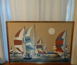 X LARGE Wall Art Canvas Beach Ocean Lake Nautical Sailboats Picture PICK UP NJ $99.99