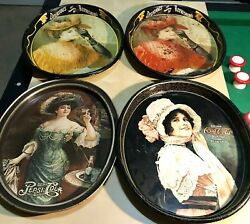 """Vintage Lot Of 4 Coca Cola And Pepsi 15"""" Tin Trays 1970s-1980s Advertising Signs"""