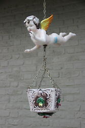Rare Cute Vintage Faience Angel Putti Hang Planter Jardiniere 1960 Floral Roses