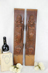 Pair Wood Carved Figurines From Dutch Cabinet Early 40and039s