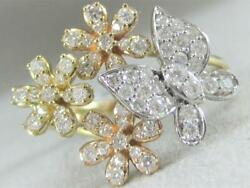 Modern Pave Diamond Flowers Butterfly 14k Wyr Gold Cluster Cocktail Ring R59850t