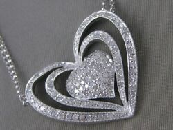 Modern Large Pave Diamond 14k W Gold Heart Halo Double Chain Necklace P19079wp1