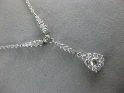 Modern .96ctw Pave Diamond 18kt White Gold Pear Cluster Dangle Necklace N01716w