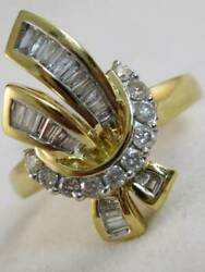Modern Diamond 14kt Yellow Gold Filigree Cluster Wreath Cocktail Ring R02211hy