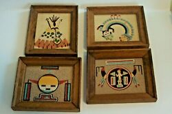 4 Vintage Regis Of New Mexico Decorative Framed Sand Art Paintings