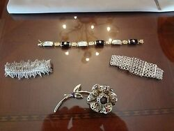 Vintage Large Sarah Cov. Flower Pin And 3 Beautiful Bracelets-very Nice Old Items-