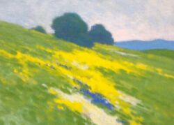 California Hills Poppies Wildflowers Landscape Art Oil Painting Impressionism