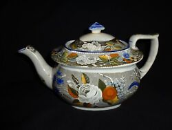 Very Rare Marked Antique 19th.c Salopian Soft Paste China Floral Teapot J1
