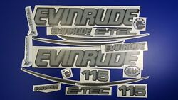 Evinrude Boats Emblem 115 Gray + Free Fast Delivery Dhl Express - Raised Decals