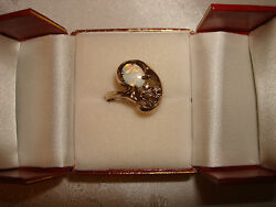 Vintage Collectible Jason Design 10k Solid Yellow Gold Opal Diamonds Ring Size 8