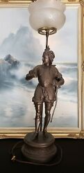Antique French Spelter Figural Falconer Sculptural Electrified Lamp.