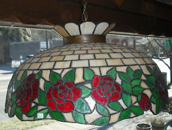 Antique Leaded Rose Glass Hanging Shade Condition Good