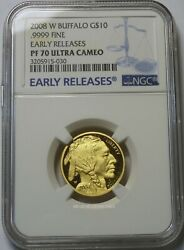 2008-W $10 PROOF AMERICAN GOLD BUFFALO 1/4 oz. NGC PF70 UCAM EARLY RELEASES