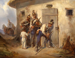 Stunning Oil Painting Soldiers Holding Sword Outside The Farmer's House And Child