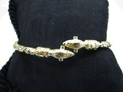 A723 Beautiful Unusual 18k Gold Bangle Bracelet With Bird Or Snake Heads At Ends
